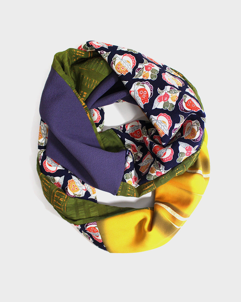 Kimono, Purple, Matcha and Yellow, Zakuro and Yuzu Silk Infinity Scarf