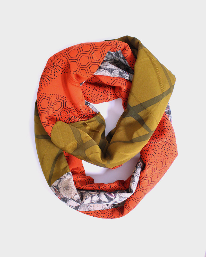 Kimono, Silver and Red Floral, Orange Kikko, Olive, and Floral Silk Infinity Scarf