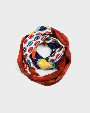 Kimono Infinity Scarf, Colorful floral and Squares