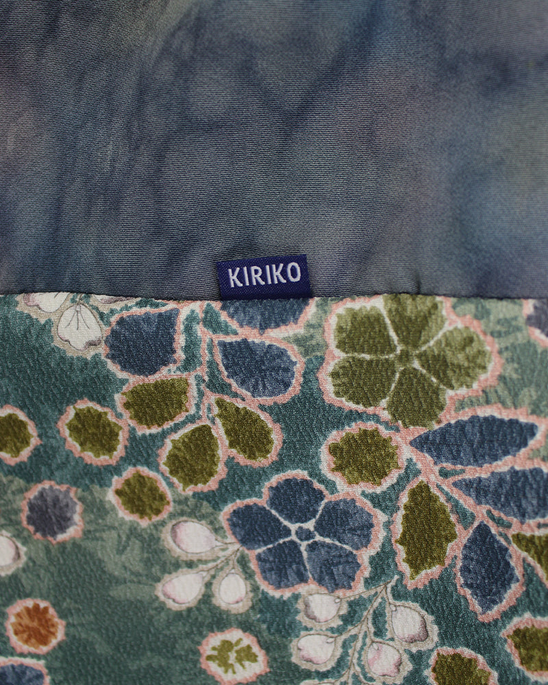 Kimono Green Plum Blossom, Red and Tan Infinity Scarf
