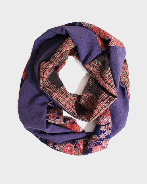 Kimono, Purple and Red Plaid, Floral Silk Infinity Scarf