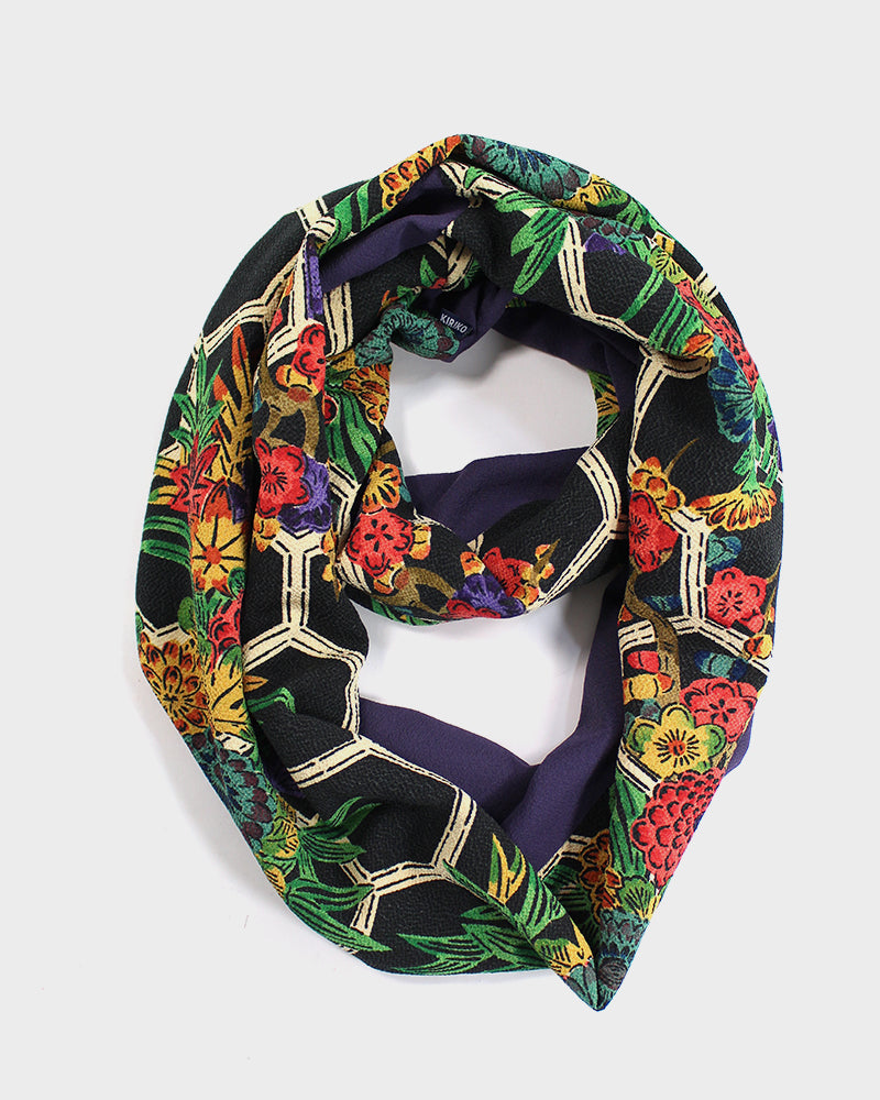 Kimono, Bright Floral with Purple, Infinity Scarf