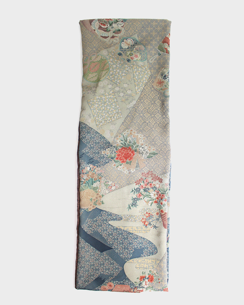 Kimono, Brown with Abstract Sayagata Floral Fabric, Silk Inifinty Scarf