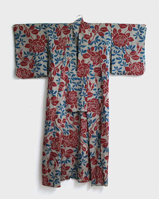 Vintage Kimono, Red, Grey and Blue