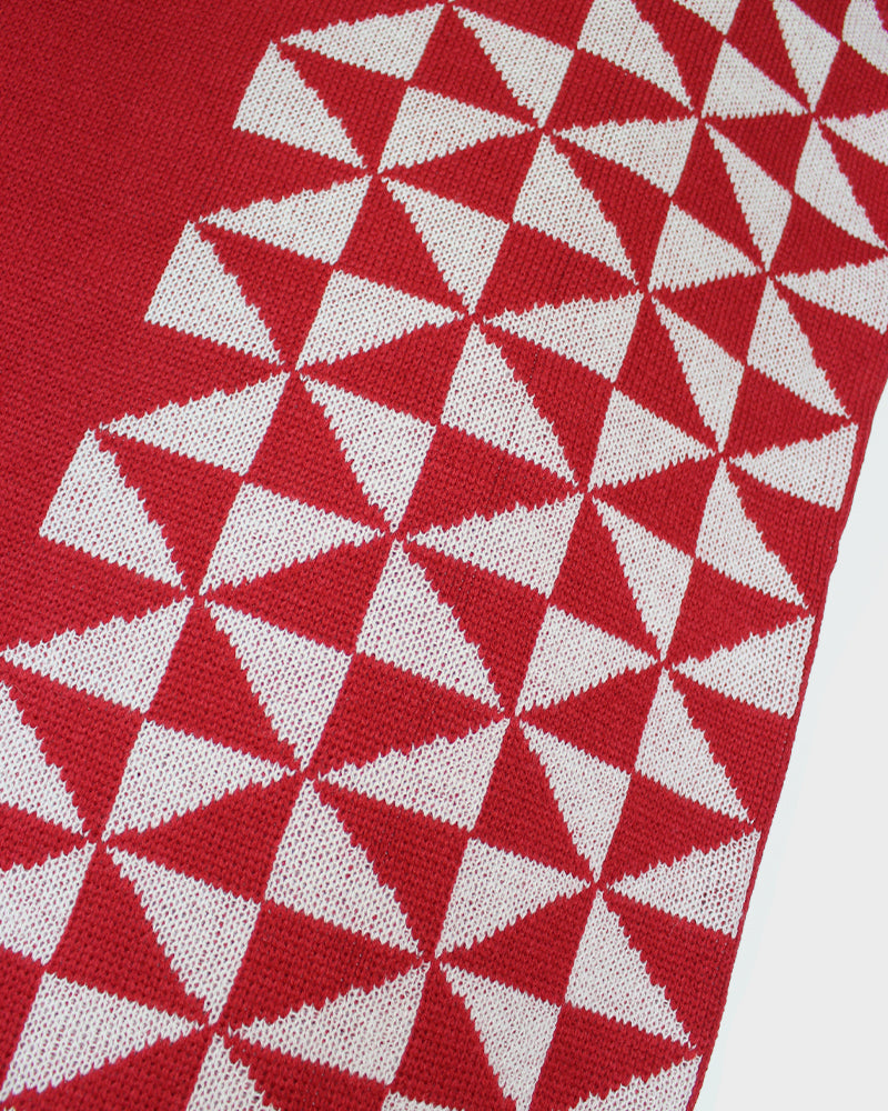Poncho, Red with Triangles
