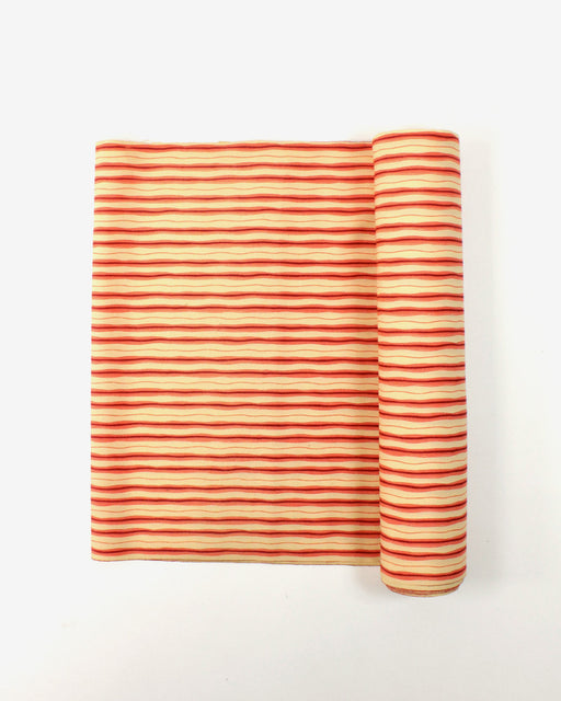 Vintage Fabric Red and Yellow Wavy Stripe Pattern