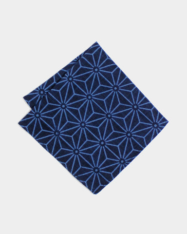 Pocket Square Indigo Asanoha Dark