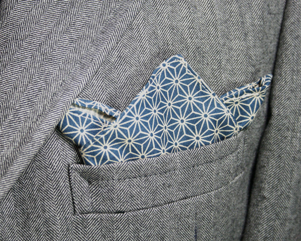 Pocket Square Teal Asanoha