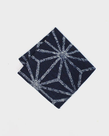 Pocket Square Large Indigo Asanoha