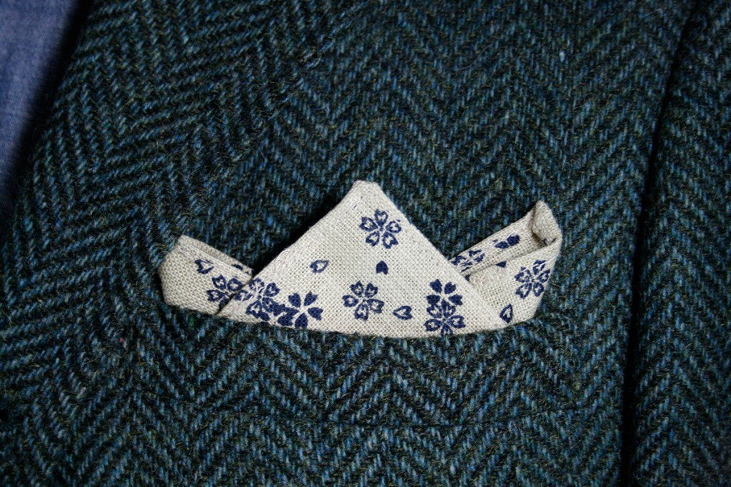Pocket Square Natural Sakura Floral