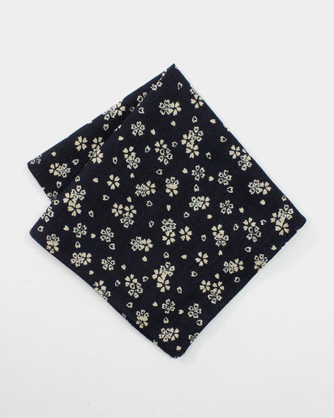 Pocket Square Navy Sakura Floral