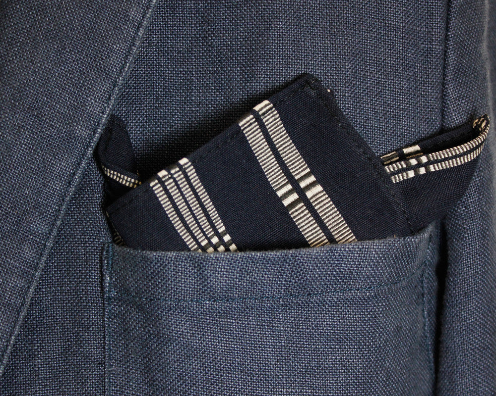 Pocket Square Navy Shuri-Ori