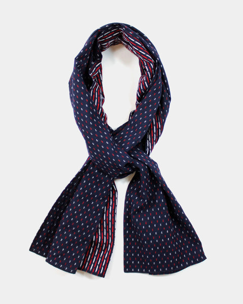 Kasuri Dotted Red and White Scarf