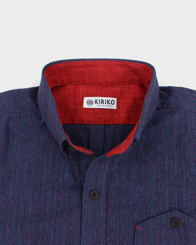 Button-Up Shirt Red Sashiko Lines