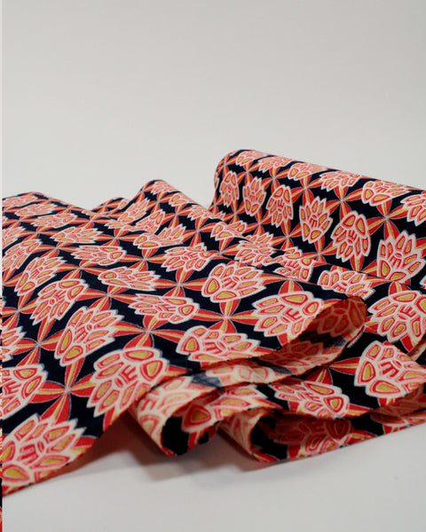 Vintage Fabric Red and Navy Lily Grid