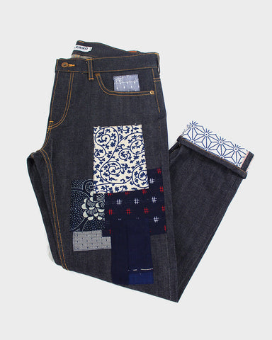 One of a Kind Patched Japanese Selvedge Denim, Womens, Asanoha