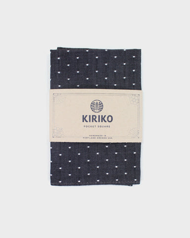 Pocket Square Charcoal Selvage Dot
