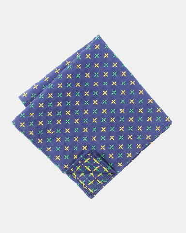 Pocket Square Sashiko Blue and Yellow