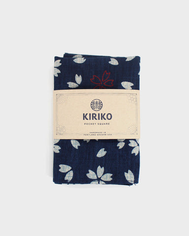 Pocket Square Indigo Sakura Large Pattern