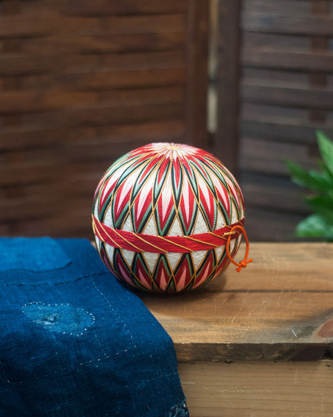 Vintage Temari Ball Small, Pink