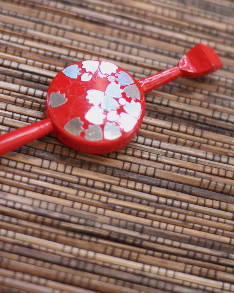 Vintage Red Kanzashi and Kushi Set