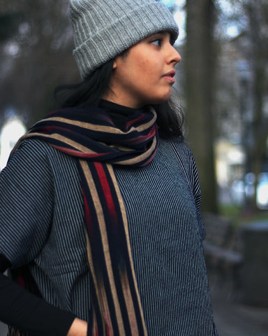 Karu-Ori Dark Navy, Tan and Red Stripe Fade Scarf