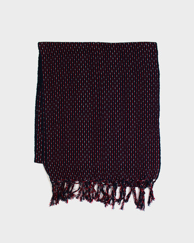 Karu-Ori Red and Dark Navy Stripe White Dash Scarf