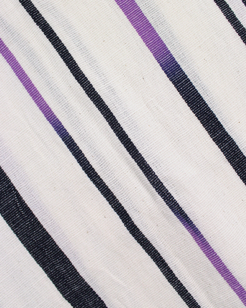 Karu-Ori, White and Indigo Shima, Purple Color Fade Kasuri
