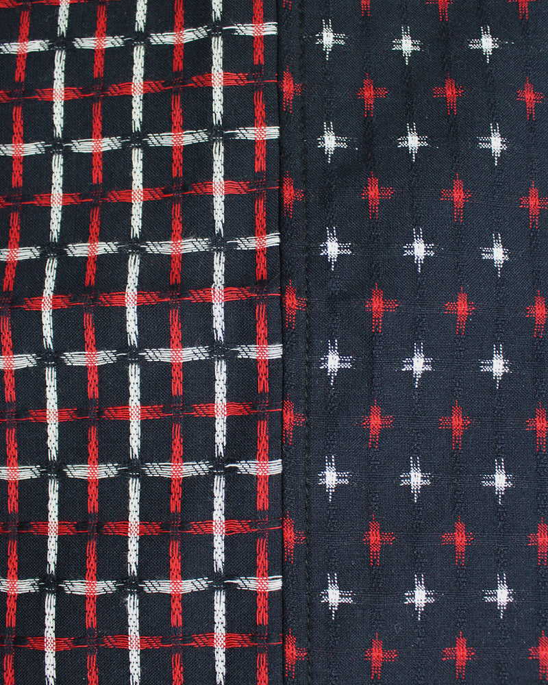 Double Split Kasuri-Ori Scarf, Red, White and Indigo, Jyuji
