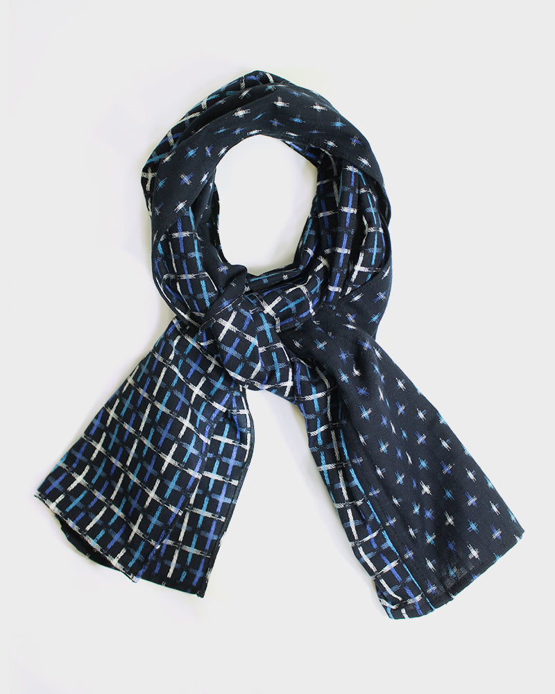 Double Split Kasuri-Ori Scarf, White, Indigo and Light Blue, Jyuji