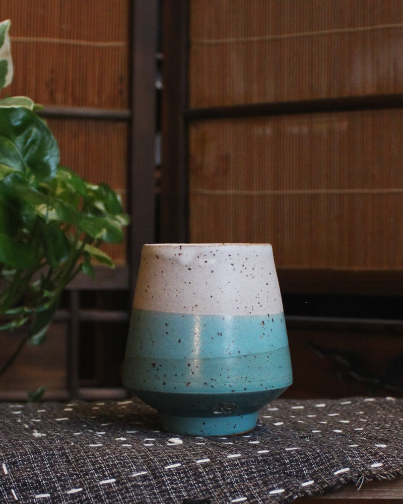 Kelly Pottery, Yunomi Dipped, Speckled, Light Blue