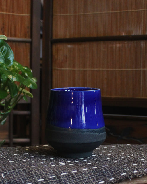 Kelly Pottery, Blue Yunomi Dipped Charcoal