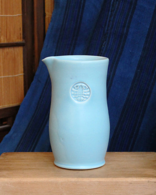 Kelly Pottery, Tall Glazed Light Blue Ceramic Coffee Pot
