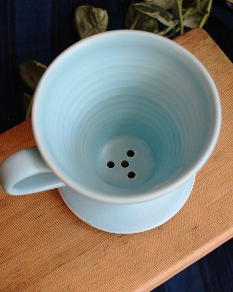 Kelly Pottery, Glazed Light Blue Ceramic Drip Coffee Filter