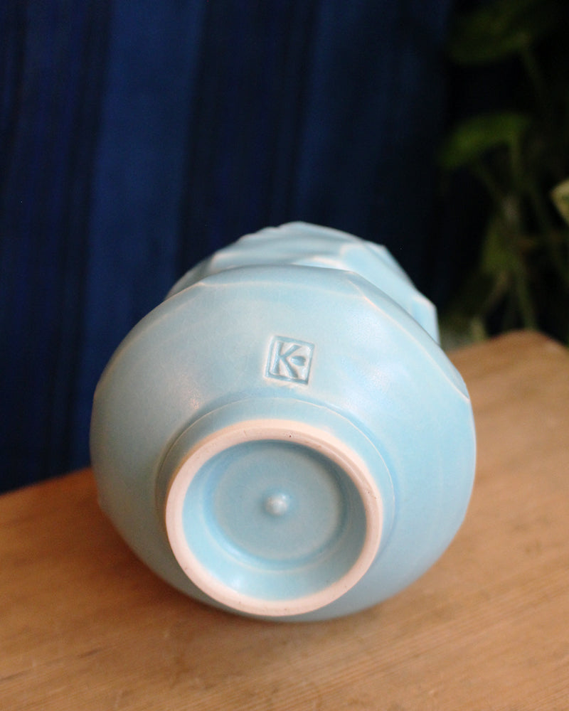 Kelly Pottery, Faceted Yunomi, Light Blue