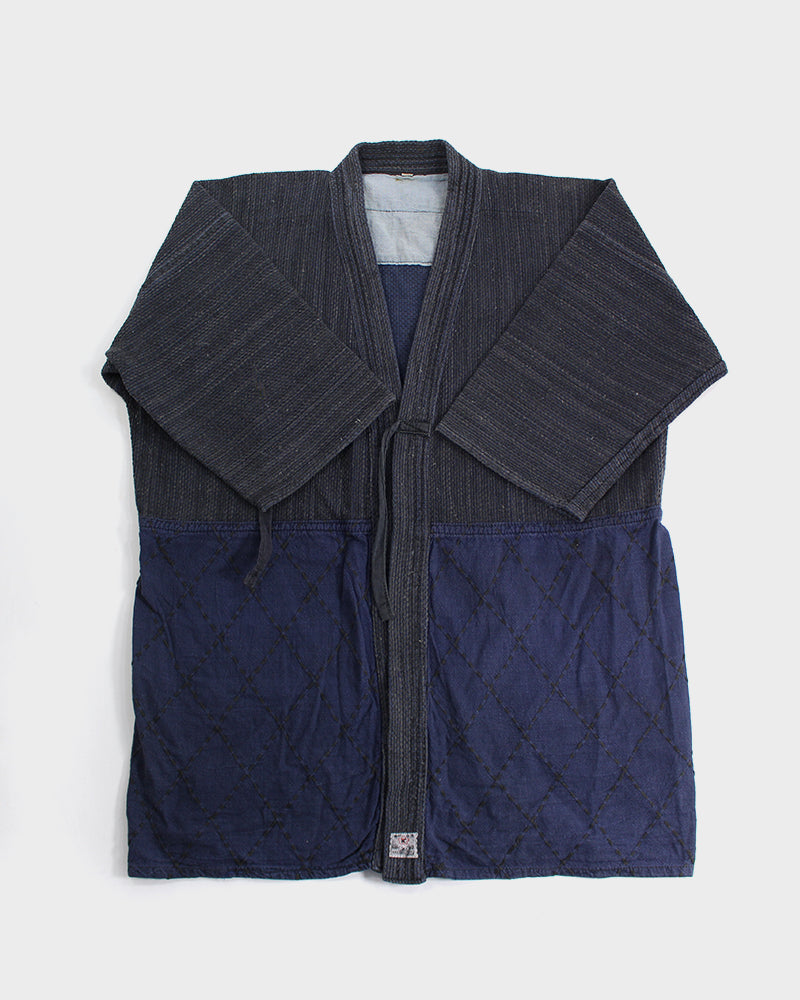 Vintage Kendo Jacket, Faded Indigo with Indigo (S/M)