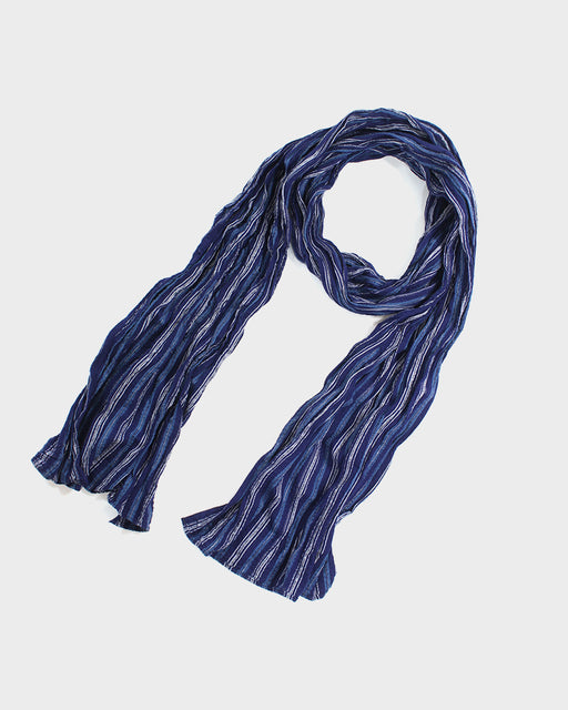 Kiji Scarf With Shijira Weave, Indigo, Light Blue and White Shima