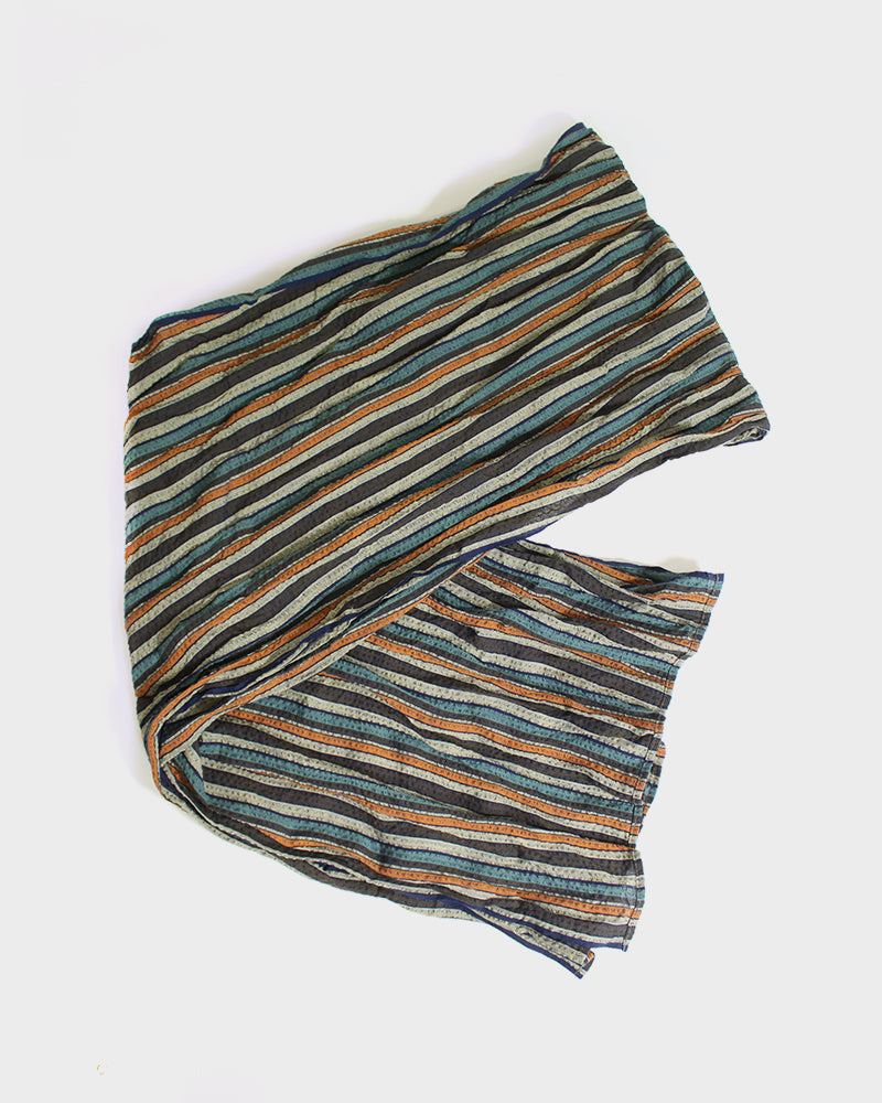 Kiji Scarf with Shijira Weave, Blue, Tan, Orange and Grey Shima