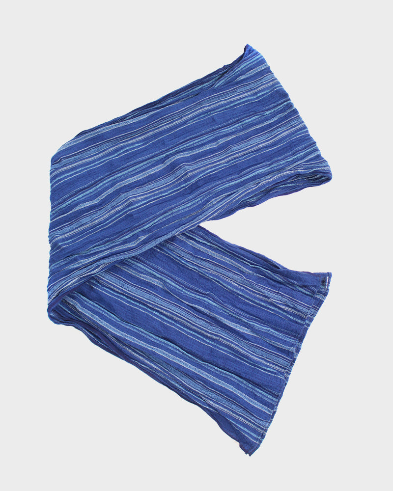 Kiji Scarf With Shijira Weave, Indigo, Dark and Light Blue Shima