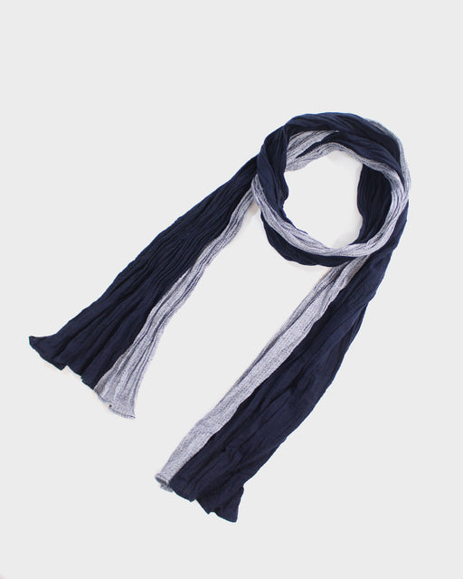Kiji Scarf With Shijira Weave, Dark Indigo and White