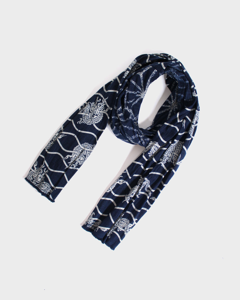 Two Tone Kiji Scarf, Indigo, with Asanoha and Tachiwaku Dragon