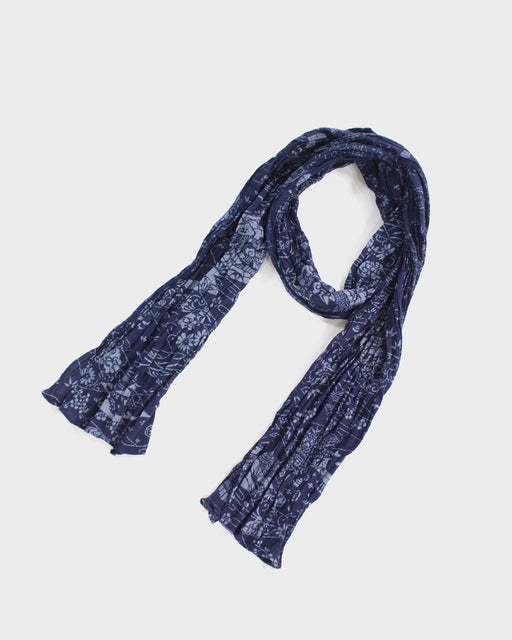 Kiji Scarf With Shijira Weave, Indigo Matsukawabishi and Scenery