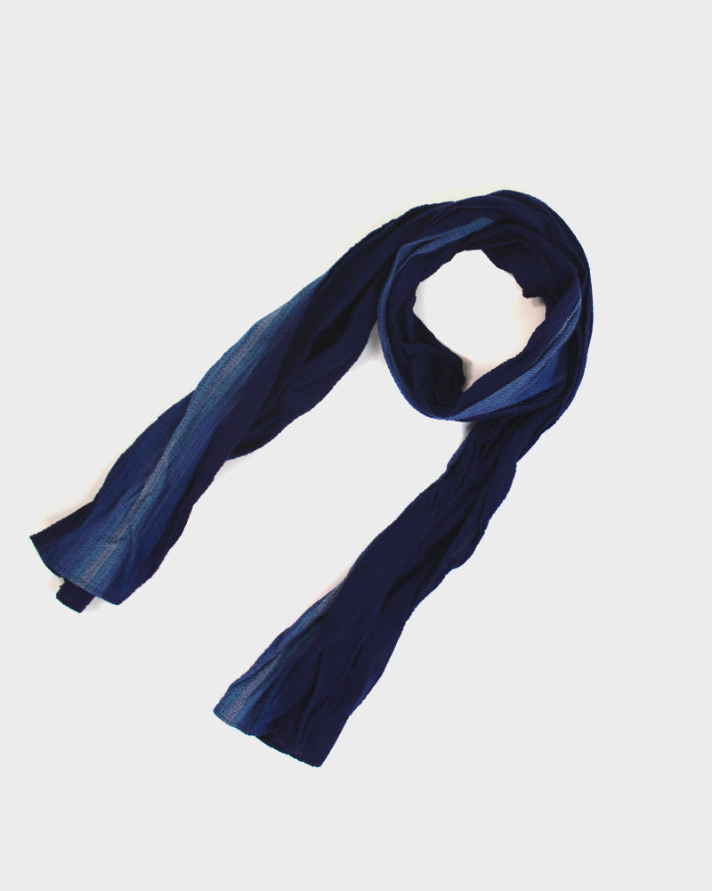 Kiji Scarf With Shijira Weave Summer Scarf With Navy & Indigo