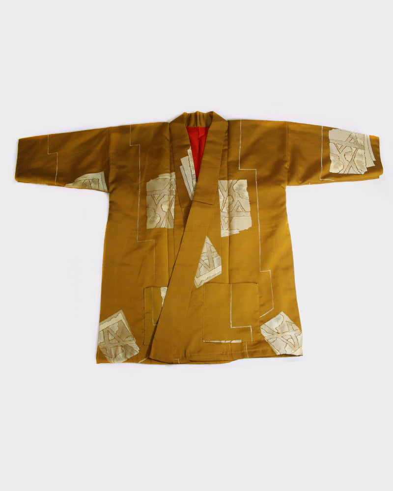 Altered Kimono Jacket, Amber with Hikihaku