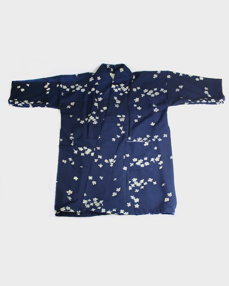Altered Kimono Jacket, Blue with White Flower Petals
