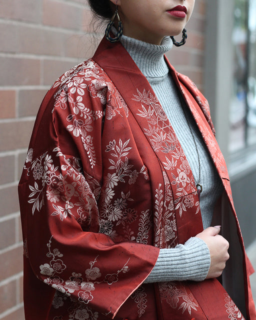 Altered Kimono Jackets, Red with Silver Floral Pattern