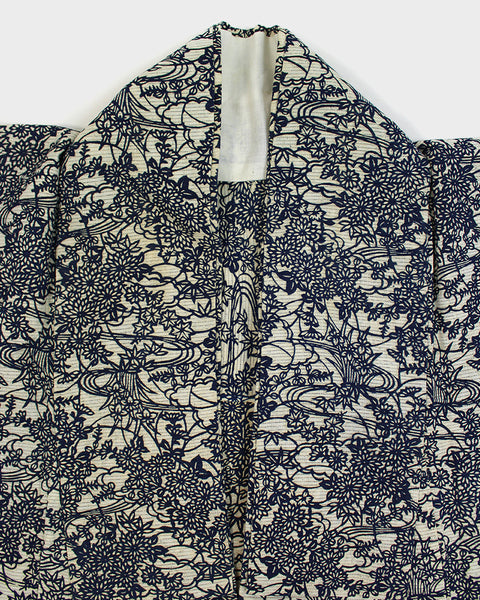 Modern Cut Haori Jacket, Cream and Indigo Floral Pattern