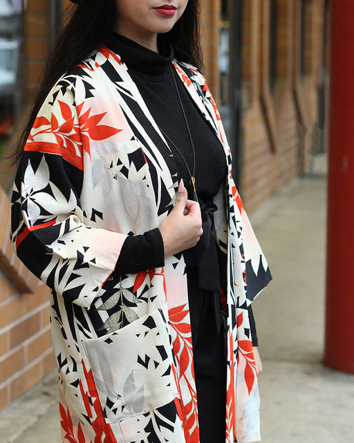 Modern Cut Haori Jacket, Red, Black, White and Silver Bamboo
