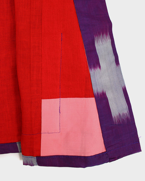Modern Cut Haori Jacket, Purple and Grey Kasuri
