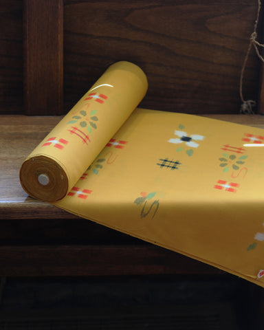 Vintage Fabric Yellow Kasuri